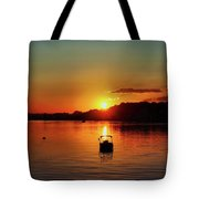 Boat In Sunset Glow Tote Bag