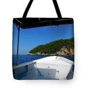 Boat In The Ocean Tote Bag