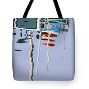 Boat Mast Water Reflection Tote Bag