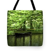 Boat On A Lake Tote Bag