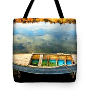 Boat On Lake Tote Bag