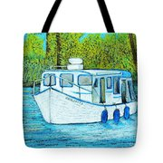 Boat On The River Tote Bag