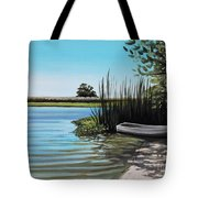 Boat On The Shadowed Beach Tote Bag