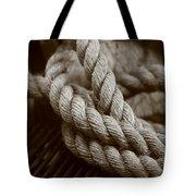 Boat Rope Sepia Tone Tote Bag