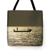 Boat Silhouette In Sunrise At Marina Beach, Chennai Tote Bag