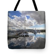 Boat Slips At Anacortes Cap Sante Marina In Washington State Tote Bag