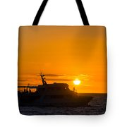 Boat Sunset Silhouette Tote Bag