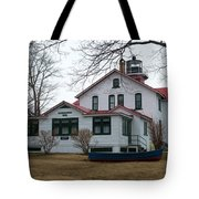 Boat With The Lighthouse Tote Bag