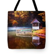 Boathouse In Autumn Oil Painting Tote Bag