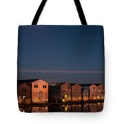 Boathouse Reflections With Moonset Tote Bag