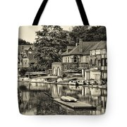 Boathouse Row In Sepia Tote Bag by Bill Cannon