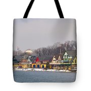 Boathouse Row On A Winter Morning Tote Bag