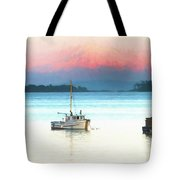 Boats Anchored With Mount Baker, Washington In Background Tote Bag