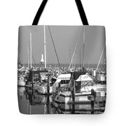 Boats And Reflections B-w Tote Bag
