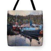 Boats At Dock Heriot Bay Inn Tote Bag