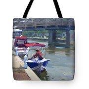Boats At North Tonawanda Canal Tote Bag