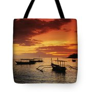 Boats At Senggigi Tote Bag