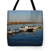 Boats At Sunset In Fuzeta Tote Bag