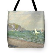 Boats Below The Cliffs At Pourville Tote Bag by Claude Monet