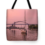 Boats Heading Out At Sunset To Watch Fireworks Tote Bag