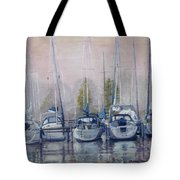 Boats In A Row Tote Bag