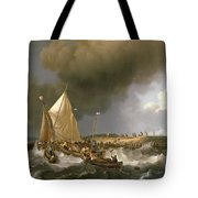 Boats In A Storm  Tote Bag