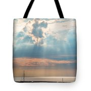Boats In God Rays Tote Bag