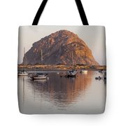 Boats In Morro Rock Reflection Tote Bag