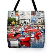Boats In The Harbor - La Coruna Tote Bag