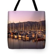 Boats Moored At A Harbor, Stearns Pier Tote Bag