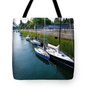 Boats Moving Into Chittenden Locks Seattle Tote Bag