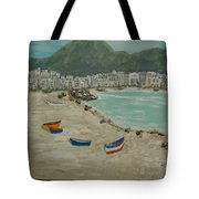 Boats On The Beach In Spain Tote Bag