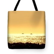 Boats On The Golden Horizon Tote Bag