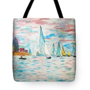 Boats On Water Monet  Tote Bag