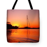 Boats Sunset Tote Bag