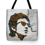 Bob Dylan Minnesota Native Recycled Vintage License Plate Portrait On White Wood Tote Bag