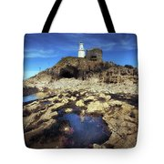 Bob's Cave At Mumbles Lighthouse Tote Bag