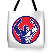 Body Builder Flexing Muscles Circle Retro Tote Bag