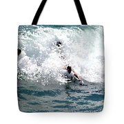 Body Surfing The Ocean Waves Tote Bag