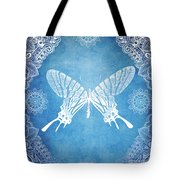 Bohemian Ornamental Butterfly Deep Blue Ombre Illustratration Tote Bag