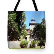 Bois Blanc Island Lighthouse Tower And Living Quarters Tote Bag by Sally Sperry