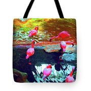 Bold Modified Flamingoes Tote Bag