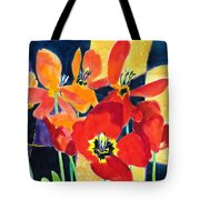 Bold Quilted Tulips Tote Bag