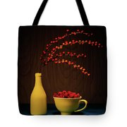 Bold Yellow With Raspberries Tote Bag