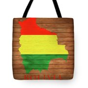Bolivia Rustic Map On Wood Tote Bag