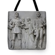 Bonham And Bowie On Alamo Monument Tote Bag