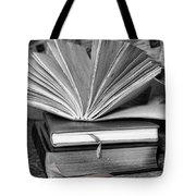 Books In Black And White Tote Bag