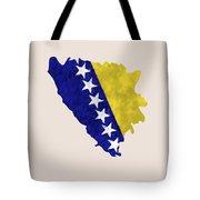 Bosnia And Herzegovina Map Art With Flag Design Tote Bag