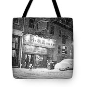 Boston Chinatown Snowstorm Tyler St Black And White Tote Bag