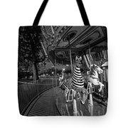 Boston Common Carousel Boston Ma Black And White Tote Bag